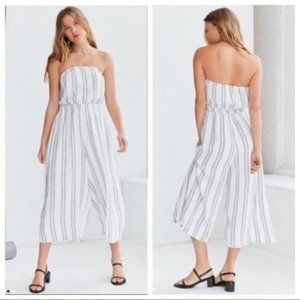 Silence +Noise Strapless Striped Jumpsuit White M